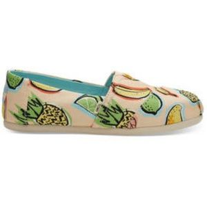 Toms Coral Pink Cuban Fruits Slip On Loafers NIB